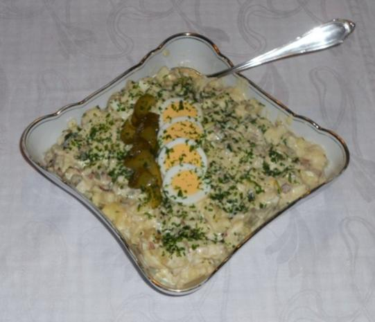 "Feiner Kartoffelsalat à la  ""Oòrndrasch"", mit selbstgemachter Majo. (Rzpt. um 1976) - Rezept"