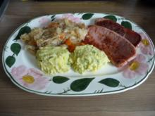 Schwein : Gebratene Jagdwurst - Sauerkraut und selbstgemachtes Kartoffelpüree - Rezept