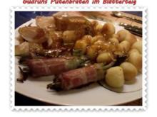 Gemüse: Putenbraten im Teigmantel mit Sesamsoße und grüne Bohnen im Schinkenmantel II - Rezept