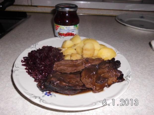 Rehkeule In Rotwein Johannisbeegeleesoße Rezept Kochbarde