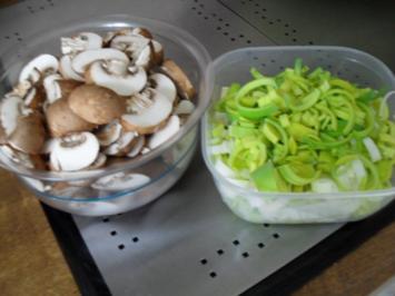 Hackbraten gefüllt mit Lauch und Champignons aus dem Ofen - Rezept