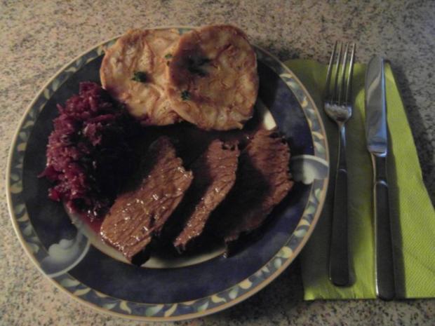 Rinderbraten vom Angus-Rind an einer leckeren Rotweinsosse - Rezept - Bild Nr. 4
