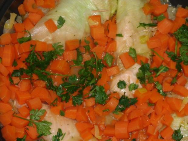 Fisch : Schollenfilet in Räucherlachs auf Gemüsebeet gedünstet - Rezept - Bild Nr. 4