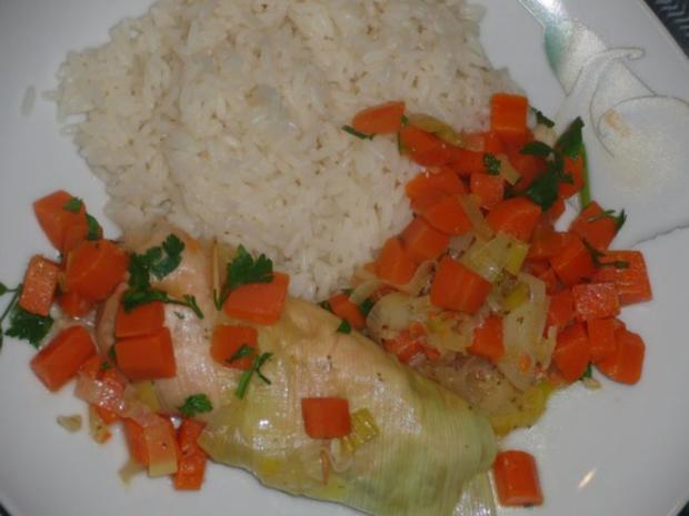 Fisch : Schollenfilet in Räucherlachs auf Gemüsebeet gedünstet - Rezept - Bild Nr. 5