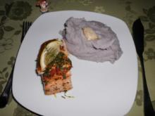 Versuch in Lila, getrüffelt, mit Lachs im Kräuterkleid>> - Rezept