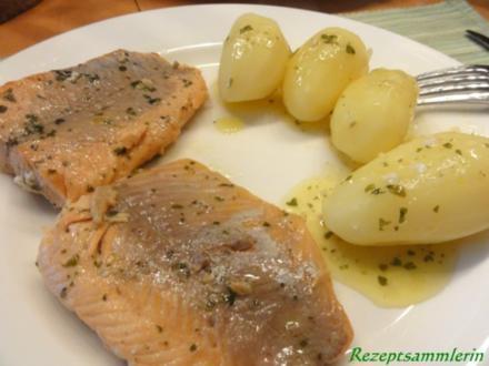 Fisch:   LACHSFORELLEN-FILET in Kräuterbutter - Rezept