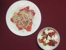 Kalbscarpaccio an Salat von Tomaten, Feigen und Büffelmozzarella - Rezept