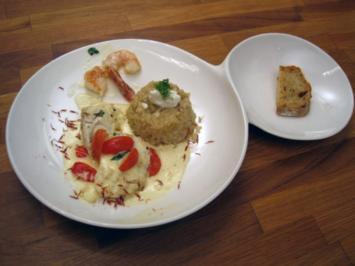 Seeteufel mit Weißweinsoße und Fenchel-Risotto - Rezept