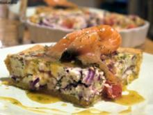 Tomaten-Zwiebel-Quiche mit Graved Lachs - Rezept