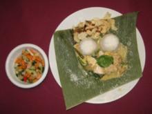Gekochtes Huhn mit Curry und Kokosnuss an Gemüse auf Basmatireis - Rezept