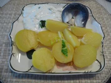 Schmalhans - Küchenmeister : Pellkartoffeln mit Frischkäse-Joghurt-Dip und Bismarckhering - Rezept
