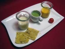 Suppen-Dreierlei von Möhren, Kartoffeln und Erbsen - Rezept