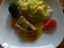 Gefüllte Salbei-Schnitzel mit Lauch-Bandnudeln - Rezept