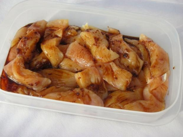 Marinierte Hähnchen-Streifen umhüllt von Sesampanade mit Fächerkartoffeln - Rezept - Bild Nr. 5