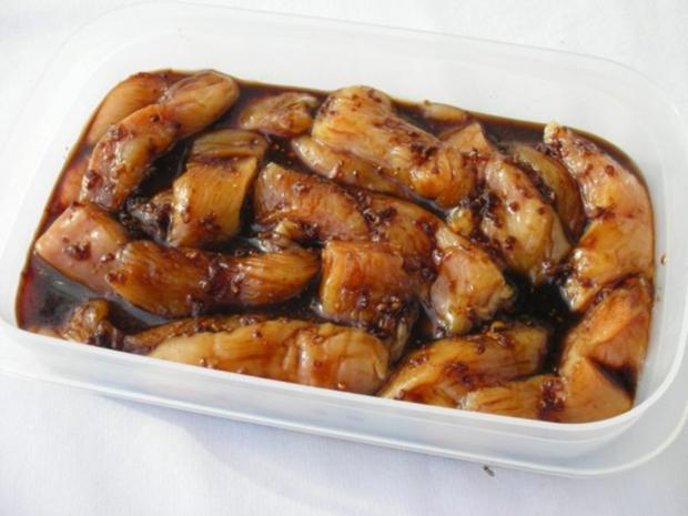 Marinierte Hähnchen-Streifen umhüllt von Sesampanade mit Fächerkartoffeln - Rezept - Bild Nr. 6