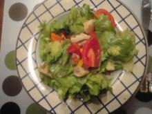 Salat mit Hänchenbruststreifen und lauwarmen Champignons - Rezept