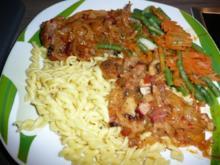 Schweinekamm-braten, Karotten & Prinzessbohnen & Nudeln - Rezept