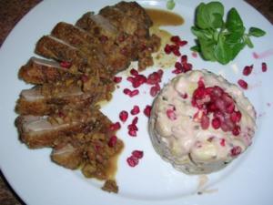 Entenbrust mit Granatapfelsauce und Walnüssen - Rezept