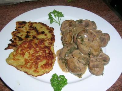 Kalbsnieren in Senfsauce an Rösti und Feldsalat - Rezept