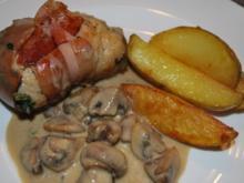 Hähnchenrouladen mit Spinat-Frischkäse in Champignonrahm - Rezept
