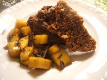 Dessert: Mandelkrokantsplitter mit Schokosahne und Mangoragout - Rezept