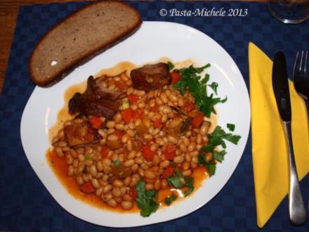 Kalbfleisch mit weißen Bohnen                 (Vitello con fagioli bianchi) - Rezept