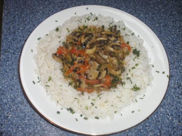 Reis mit Champignon - Paprikasoße - Rezept