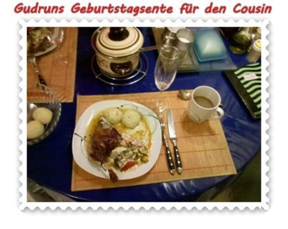 Geflügel: Kräuterschlemmerente mit Ofengemüse, Gorgonzolasoße und Klöße - Rezept - Bild Nr. 13