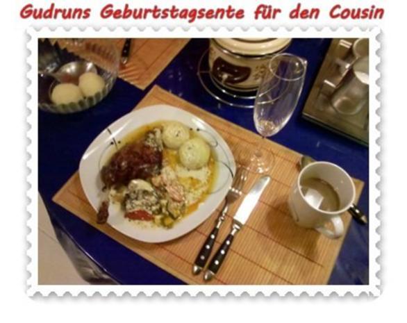 Geflügel: Kräuterschlemmerente mit Ofengemüse, Gorgonzolasoße und Klöße - Rezept - Bild Nr. 14