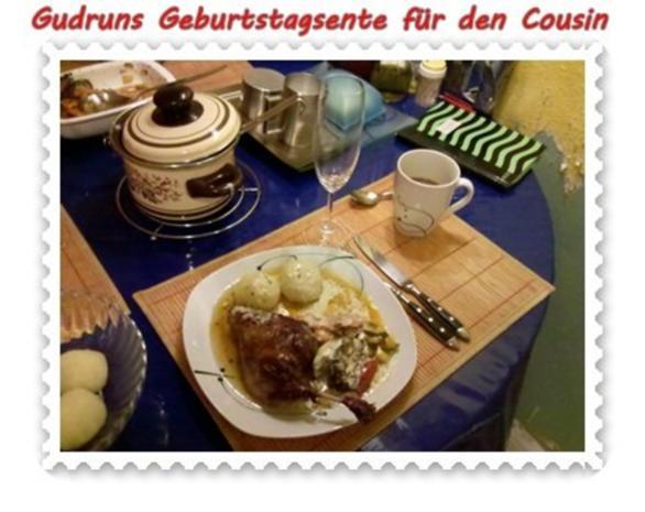 Geflügel: Kräuterschlemmerente mit Ofengemüse, Gorgonzolasoße und Klöße - Rezept - Bild Nr. 15