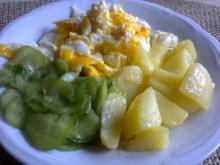Rührei Salzkartoffeln u. Gurkensalat - Rezept