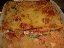 Brokkoli-Frischkäse-Lasagne, vegetarischer, mediterraner Nudel-Auflauf - Rezept