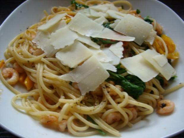 Spaghetti mit Garnelen und Rucola - Rezept