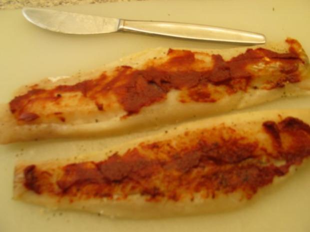 Fisch: Tomaten-Seelachsfilet mit einem Salbei-Sahne-Sößchen - Rezept - Bild Nr. 3