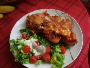 Rezept: Kartoffeln - Möhren - Bolognese-Schichtgratin....