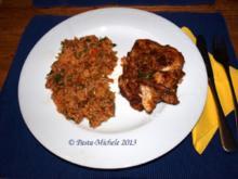 Hähnchen scharf im Gemüsebett  (baharatlı tavuk ve sebze) - Rezept