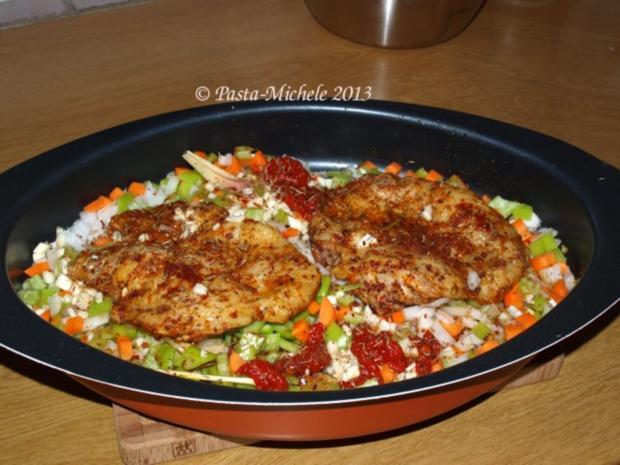 Hähnchen scharf im Gemüsebett  (baharatlı tavuk ve sebze) - Rezept - Bild Nr. 3