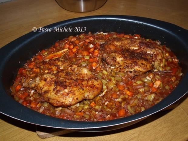 Hähnchen scharf im Gemüsebett  (baharatlı tavuk ve sebze) - Rezept - Bild Nr. 2