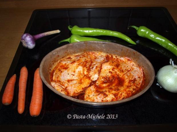 Hähnchen scharf im Gemüsebett  (baharatlı tavuk ve sebze) - Rezept - Bild Nr. 4