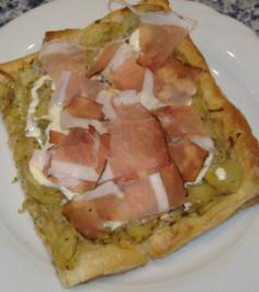 Blätterteig-Kartoffelgebäck mit Tiroler Speck - Rezept