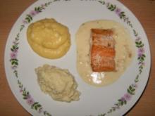 Lachs auf Meerrettich-Sahne-Sauce an zweierlei Püree - Rezept