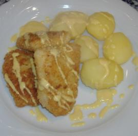 Rotbarschbeignets mit Senfsauce und Gurkensalat - Rezept