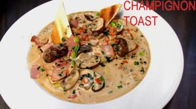 Champignon-Schinken-Toast à l`Armagnac - Rezept