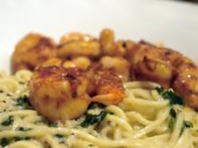 Spaghetti mit Knoblauchsauce und scharfen Garnelen - Rezept