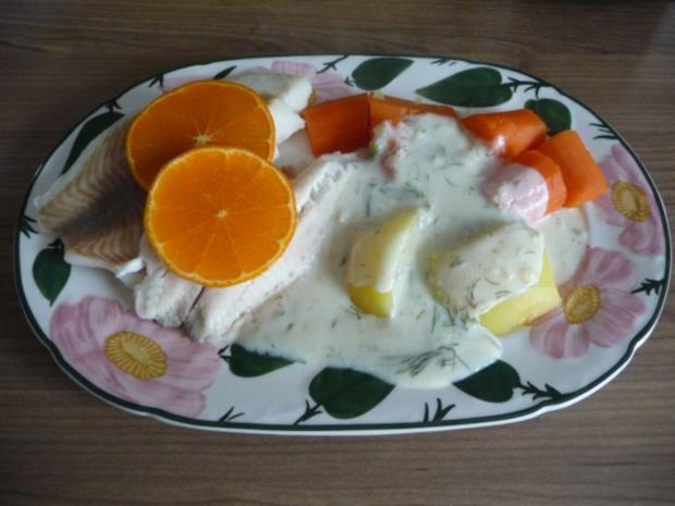 Fisch : Gedünsteter Tilapia an Meerrettich - Dill - Soße mit Kartoffeln und Gurkensalat - Rezept - Bild Nr. 2