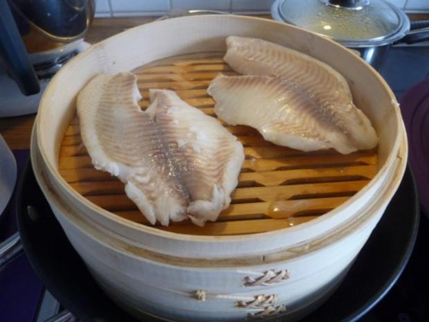 Fisch : Gedünsteter Tilapia an Meerrettich - Dill - Soße mit Kartoffeln und Gurkensalat - Rezept - Bild Nr. 29