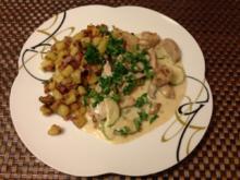 Schweine-Zucchini-Pfanne mit Röstkartoffeln - Rezept