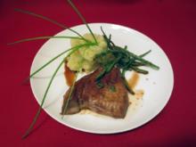 Gegrillter Tuna mit Wasabi-mashed Potatoes und Gemüse der Saison - Rezept