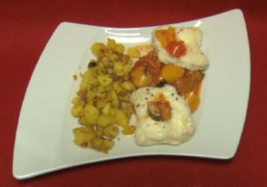 Seeteufel auf Ratatouille mit Bratkartoffeln (Liz Baffoe) - Rezept