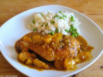 Hähnchenschenkel in Curry-Orangen-Sauce - Rezept
